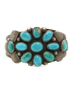 Lot 100 - Navajo Turquoise Cluster and Silver Bracelet c. 1920s, size 6.25 (J5831) Ex Pockels collection