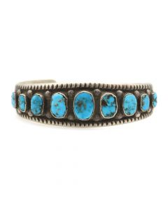 Lot 120 - Navajo Turquoise and Silver Bracelet c. 1920-30s, size 6.5 (J5868)