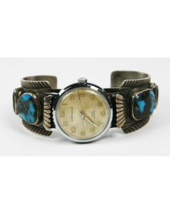 SOLD Lawrence Dodge - Navajo Silver and Bisbee Turquoise Watchband