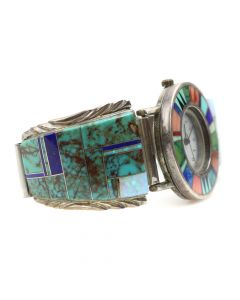 Lot 135 - Navajo Multi-Stone Channel Inlay and Sterling Silver Watch Band c. 1980s, size 6.75 (J6037)