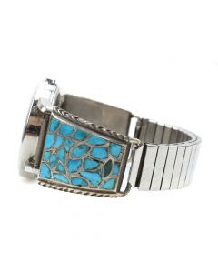 Zuni Turquoise Channel Inlay and Silver Watchband c. 1960s, size 6.75 (J6038)