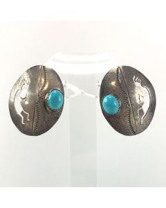 """Navajo Turquoise and Sterling Silver Post Earrings with Kokopelli Design c. 1960-70s, 1.25"""" x 1"""" (J6047)"""