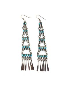 "Milburn Dishta - Zuni Contemporary Petit Point Turquoise and Silver French Hook Earrings, 4"" x 0.75"" (J6090)"