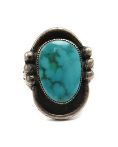 L. Benally - Navajo Turquoise and Silver Ring c. 1970-80s, size 7.5 (J6095)