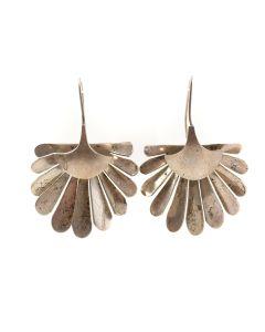 """Mexican Silver Hook Earrings c. 1980s, 2.25"""" x 1.5"""" (J6214)"""