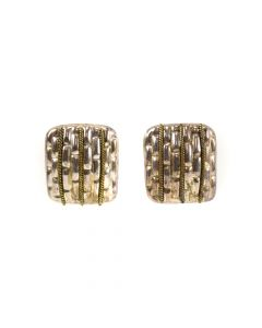 "Mexican Sterling Silver Post Earrings with Basket Weave Design c. 1980s, 1.25"" x 1.125"" (J6216)"