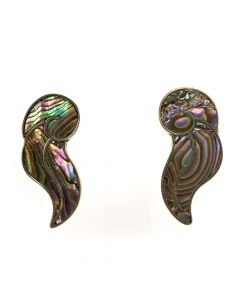 "Mexican Abalone and Silver Post Earrings c. 1940s, 1.5"" x 0.625"" (J6218)"