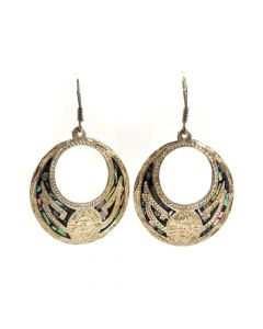 "Mexican Abalone and Silver Hook Earrings c. 1980s, 2.5"" x 1.625"" (J6220)"