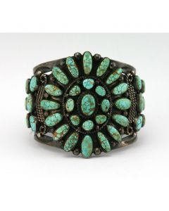 Mary Morgan - Navajo Red Web Number 8 Turquoise and Silver Bracelet c. 1940s, size 6.5 (J6475)