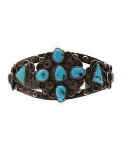 Navajo Number 8 Turquoise and Silver Bracelet with Stamped Designs c. 1940s, size 6.625 (J6488)