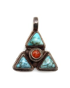 """Navajo Turquoise, Coral, and Silver Pendant c. 1980s, 1"""" x 0.875"""" (J6507)"""