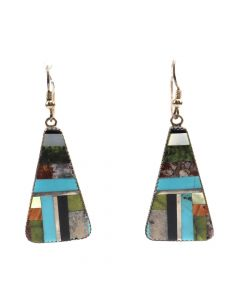 "Santo Domingo (Kewa) Multi-Stone Inlay and Silver French Hook Earrings c. 1980s, 2.25"" x 0.875"" (J6545)"
