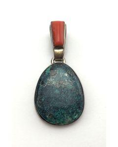 SOLD Roger Tsabetsaye - Zuni Turquoise, Coral, and Silver Pendant
