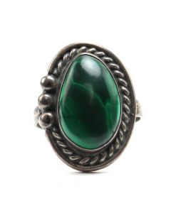 Navajo Malachite and Silver Ring c. 1980s, size 8 (J6583)