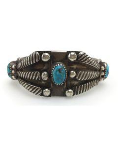 Navajo Turquoise and Ingot Silver Bracelet c. 1910-20s, size 6.5 (J6602)
