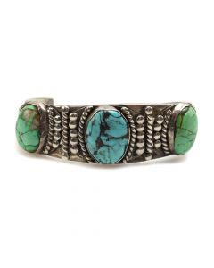 Navajo Turquoise and Silver Bracelet c. 1940-60s, size 6.75 (J6620)