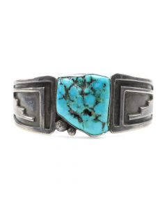 Hopi Turquoise and Silver Overlay Bracelet c. 1930s-40s, size 6.5 (J6657)