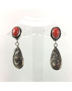 SOLD Alice Platero - Navajo Coral and Silver Post Earrings