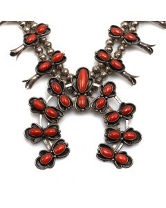 "Navajo Coral and Silver Squash Blossom Necklace c.1960-70s, 30"" length (J6868)"