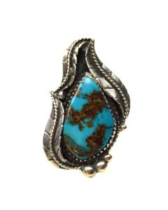 Wylie White Cloud - Navajo Bisbee Turquoise and Silver Ring c. 1970s, size 7.75 (J6926)