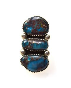 Wylie White Cloud - Navajo Bisbee Turquoise and Silver Ring c. 1970s, size 7.25 (J6927)