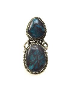 Wylie White Cloud - Navajo Bisbee Turquoise and Silver Ring c. 1970s, size 9.75 (J6929)