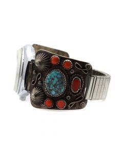 Navajo Number 8 Turquoise, Coral, and Silver Watchband c. 1960s, size 7.25 (J6956)
