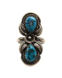 Andy Lee Kirk (1947-2001) - Isleta/Navajo Morenci Turquoise and Silver Ring with Floral Design c. 1970s, size 7.25 (J6981)