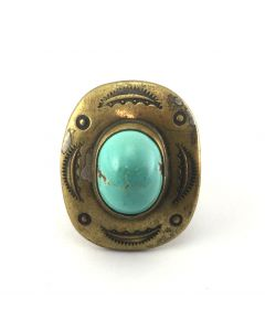 SOLD Anthony Aguilar, Sr. (1919-2002) - Kewa Persian Turquoise and Stamped Brass Ring