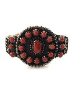 SOLD Nelson Burbank - Navajo Coral and Sterling Silver Bracelet