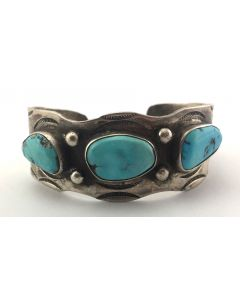 Navajo Morenci Turquoise and Silver Bracelet with Stamped Design c. 1950s, size 6.75 (J7044)