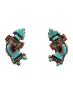 "Zuni Multi-Stone Inlay and Silver Rainbow God Post Earrings c. 1940s, 1.25"" x 0.625"" (J7072)"