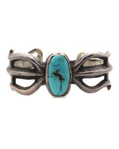 Navajo Turquoise and Sandcast Silver Bracelet c. 1900s, size 6.5 (J7094)