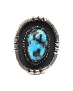 Julian Lovato - Santo Domingo (Kewa) Turquoise and Silver Ring c. 1960s, size 6 (J7131)