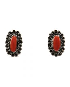 "Navajo Coral and Silver Post Earrings c. 1960s, 1"" x 0.625"" (J7273)"