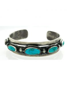 Fred Peshlakai - Navajo Turquoise and Silver Bracelet, c. 1940s, Size 6.75 (J7313)
