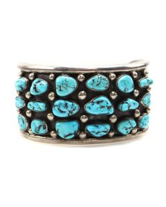 Fred Guerro - Navajo Turquoise and Silver Row Bracelet c. 1970s, size 6.75 (J7458)