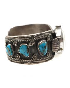Navajo Bisbee Turquoise and Silver Watchband c. 1960s, size 6.25 (J7528)