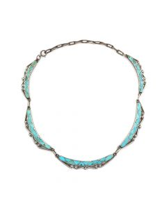 "Lot 166 - Zuni Turquoise Channel Inlay and Silver Necklace c. 1920s-30s, 19"" length (J7542)"