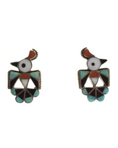 """Zuni Multi-Stone Channel Inlay and Silver Thunderbird Post Earrings c. 1940-50s, 1.25"""" x 0.75"""""""
