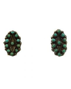 """Zuni Petit Point Turquoise and Silver Clip-On Earrings c. 1940s, 0.875"""" x 0.5"""" 1"""