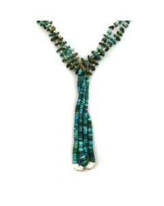 """Navajo Natural Turquoise, Coral, and Heishi Necklace with Joclas c. 1940s, 28"""" length"""