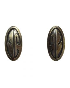 "Hopi Sterling Silver Overlay Post Earrings, c. 1960s-70s, 1.25"" x 0.625"" 1"
