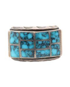 Lot 143 - Zuni Turquoise Channel Inlay and Silver Ring c. 1960s, size 9.25 - Ex Popovi Da Studio Collection; Includes Original Box (J8016)