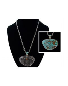 Robert Sorrell - Navajo Double Sided Turquoise, Coral, and Silver Pendant with Chain, circa 1970