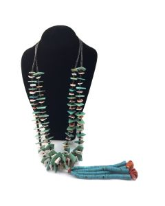 "Navajo Turquoise, Coral, Spiny Oyster, and Heishi Two Strand Necklace with Joclas c. 1960, 32"" length"