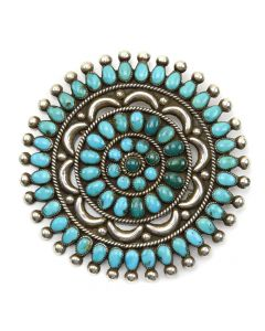 """Ondelacy Family - Zuni Turquoise and Silver Pin c. 1950, 3.25"""" x 3.25"""""""