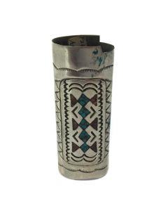 "Navajo Turquoise and Coral Chip Inlay and Silver Lighter Container c. 1970, 2.75"" x 1"""