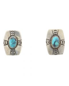 "Lot 152 - Navajo Bisbee Turquoise and Silver Post Earrings c. 1950s, 1"" x 0.625"" (J8634)"
