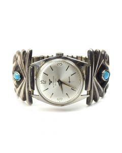 Navajo Turquoise and Silver Watchband c. 1940, size 7